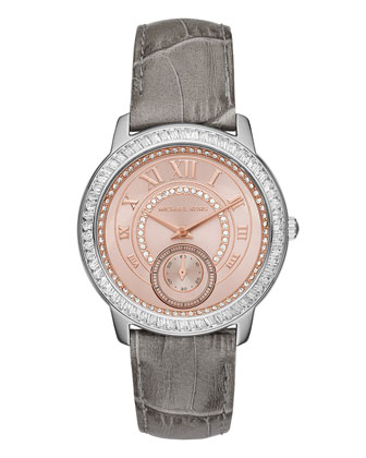 Madelyn 40mm Leather Strap Watch, Gray