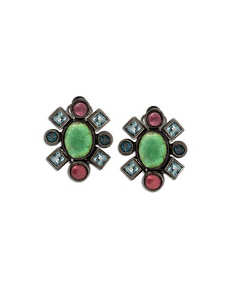 Mixed-Stone Carved Flower Clip-On Earrings