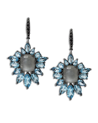 Blue Quartz Fan Drop Earrings