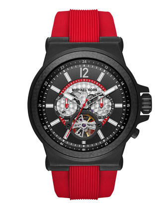 Dylan 48mm Chronograph Watch, Black/Red