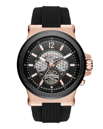 Dylan 48mm Rose Golden Chronograph Watch, Black