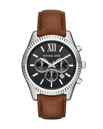 Lexington 44mm Leather Strap Watch