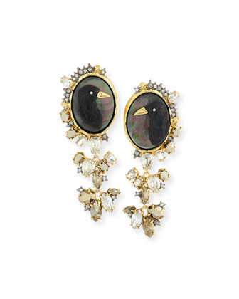 Elements Carved Raven Cameo Clip-On Earrings