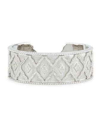 Moroccan Pavé White Topaz Cuff Bracelet