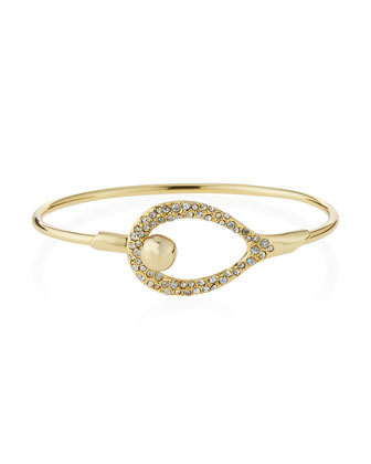 Crystal-Encrusted Tension Bangle Bracelet