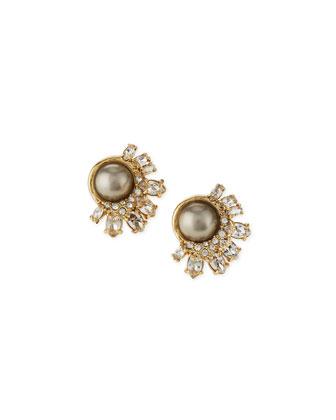 Broken Glass Pearly Stud Earrings