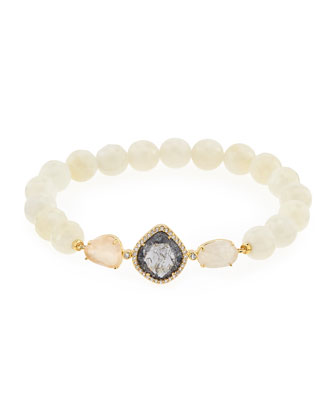 Faceted Moonstone Bead Bracelet