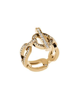 Pavé Crystal Chain & Toggle Ring