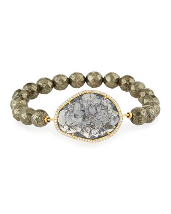 Pyrite Rock Crystal Bead Bracelet