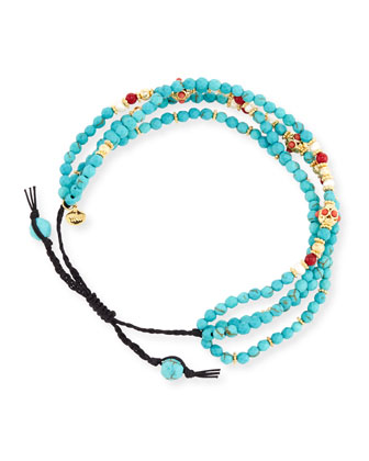 Faceted Turquoise Silk Cord Bracelet