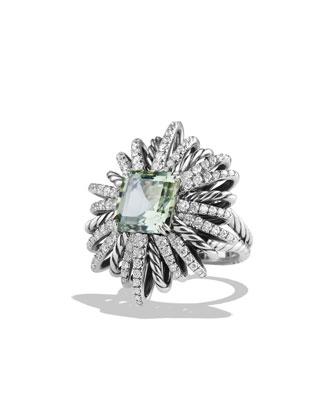 30mm Diamond & Prasiolite Starburst Ring
