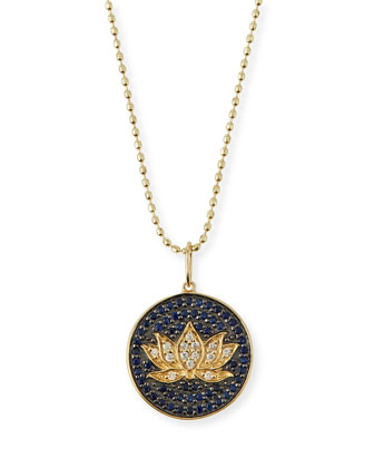 Medium Pavé Blue Sapphire & Diamond Lotus Necklace
