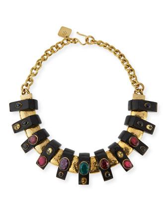 Uongozi Dark Horn & Mixed Stone Collar Necklace