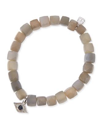8mm Faceted Gray Moonstone Beaded Bracelet w/ 14k White Gold Diamond Evil ...
