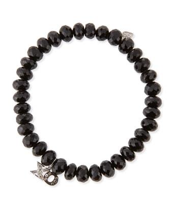 8mm Faceted Black Spinel Beaded Bracelet w/ 14k White Gold Diamond XO ...