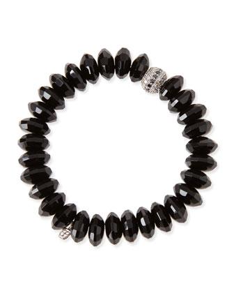 10mm Faceted Black Agate Beaded Bracelet w/ 14k White Gold Diamond Disc ...