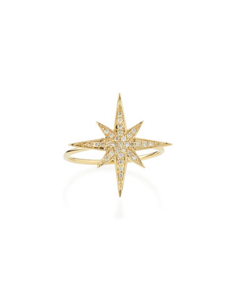 Medium 14K Yellow Gold Diamond Starburst Ring, size 6.5