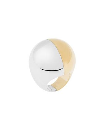 Two-Tone Metallic Dome Ring