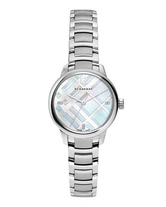 32mm Stainless Steel Bracelet Watch w/Diamond Markers
