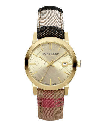 38mm Golden Stainless Steel Watch w/Check Canvas Strap