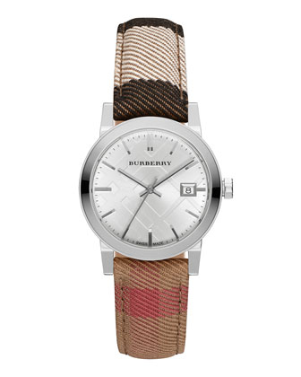 34mm Stainless Steel Watch w/Check Canvas Strap
