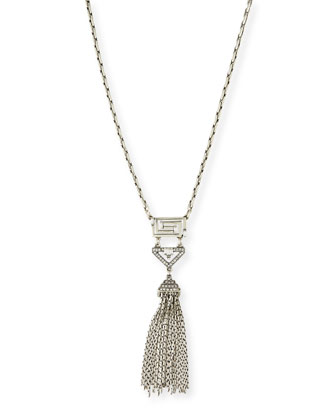 Lucent Deco Crystal Tassel Necklace