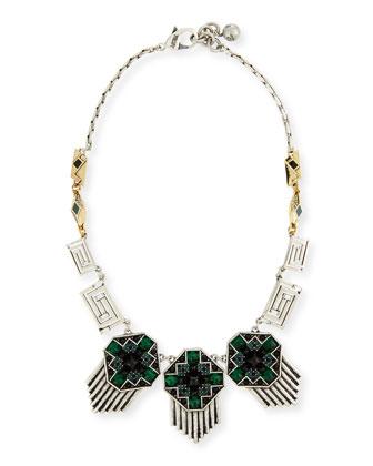 Pyramid Cabochon Deco Necklace, Green/Black