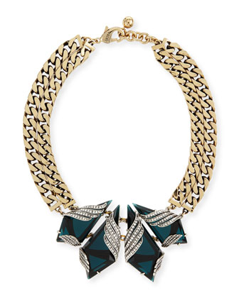 Reflection Crystal Curb-Chain Collar Necklace