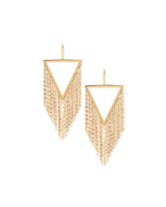 14K Gold Triangle Fringe Earrings