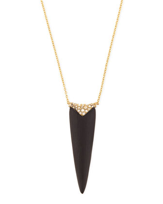 Crystal-Encrusted Spear Pendant Necklace, 32