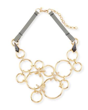Bond Link Bib Necklace w/Leather Strap