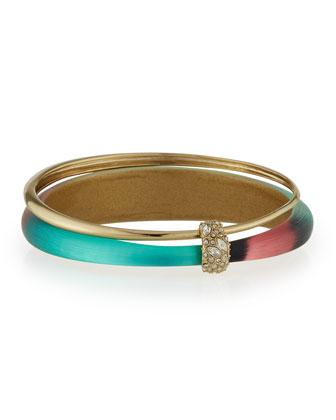 Orbiting Lucite & Crystal Bangle Bracelet, Silk Mosaic