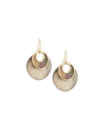 Inlaid Mother-of-Pearl Link Earrings, Warm Gray