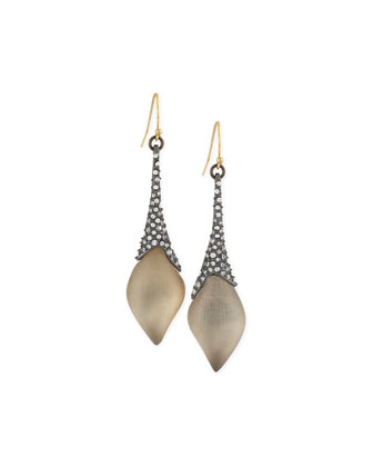 Elongated Pavé Wire Lucite Earrings, Warm Gray