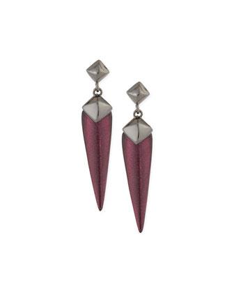 Pyramid Stud Medium Dangle Earrings, Black/Cherry