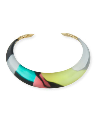 Hinged Lucite Collar Necklace, Silk Mosaic