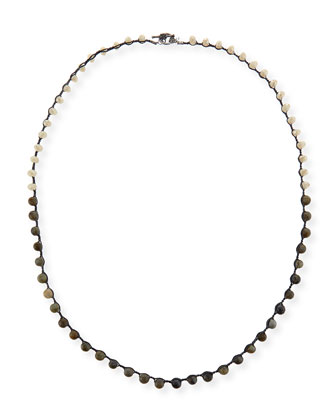 Sand Crystal & Labradorite Crocheted Necklace, 36