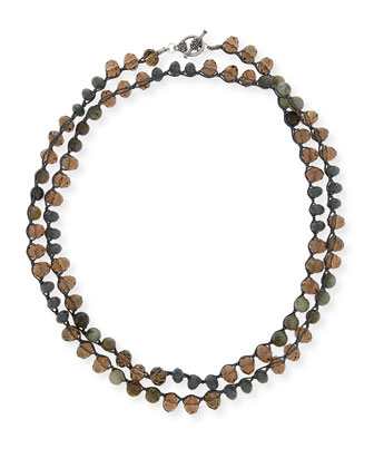 Long Gray & Smoky Crystal Crocheted Necklace, 42