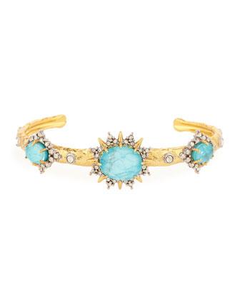Sunburst Turquoise Howlite Cuff Bracelet