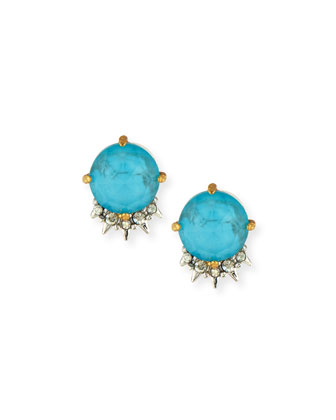 Spiked Blue Crystal Button Earrings