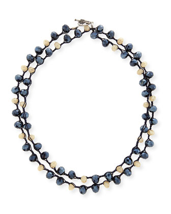 Blue Montana & Sand Crystal Crocheted Necklace, 40
