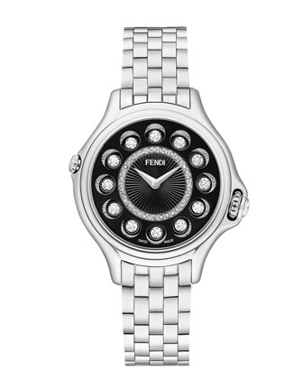 33mm Crazy Carats Stainless Steel Diamond Watch, Silver/Black