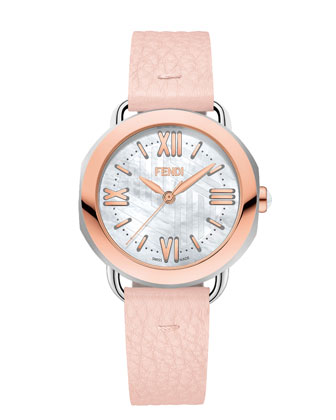 36mm Selleria Rose Gold Leather Strap Watch, Pink