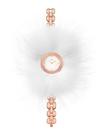 36mm Fendi My Way Watch w/Removable Fur Glamy, Rose Gold