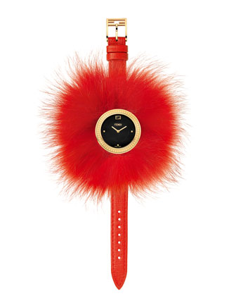 36mm Fendi My Way Watch w/Removable Fur Glamy, Red