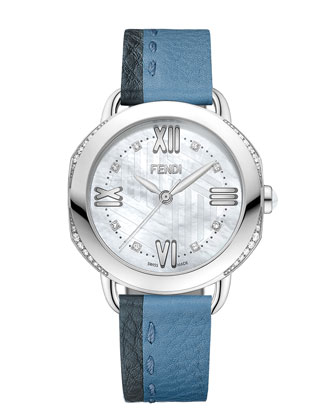 36mm Selleria Leather Strap Watch, Blue