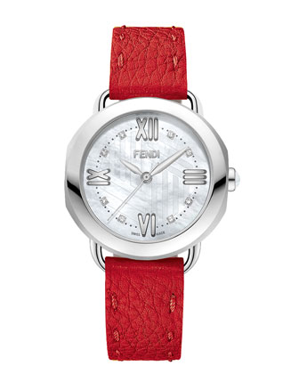 36mm Selleria Leather Strap Watch,