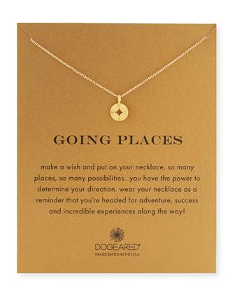 Going Places 14K Gold Compass Pendant Necklace