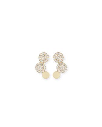 14K Gold Diamond Disc Stud Earrings