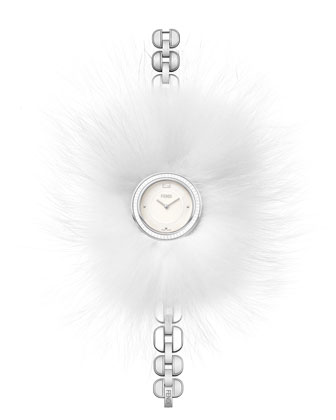 36mm Fendi My Way Stainless Steel Watch w/Removable Fur Glamy